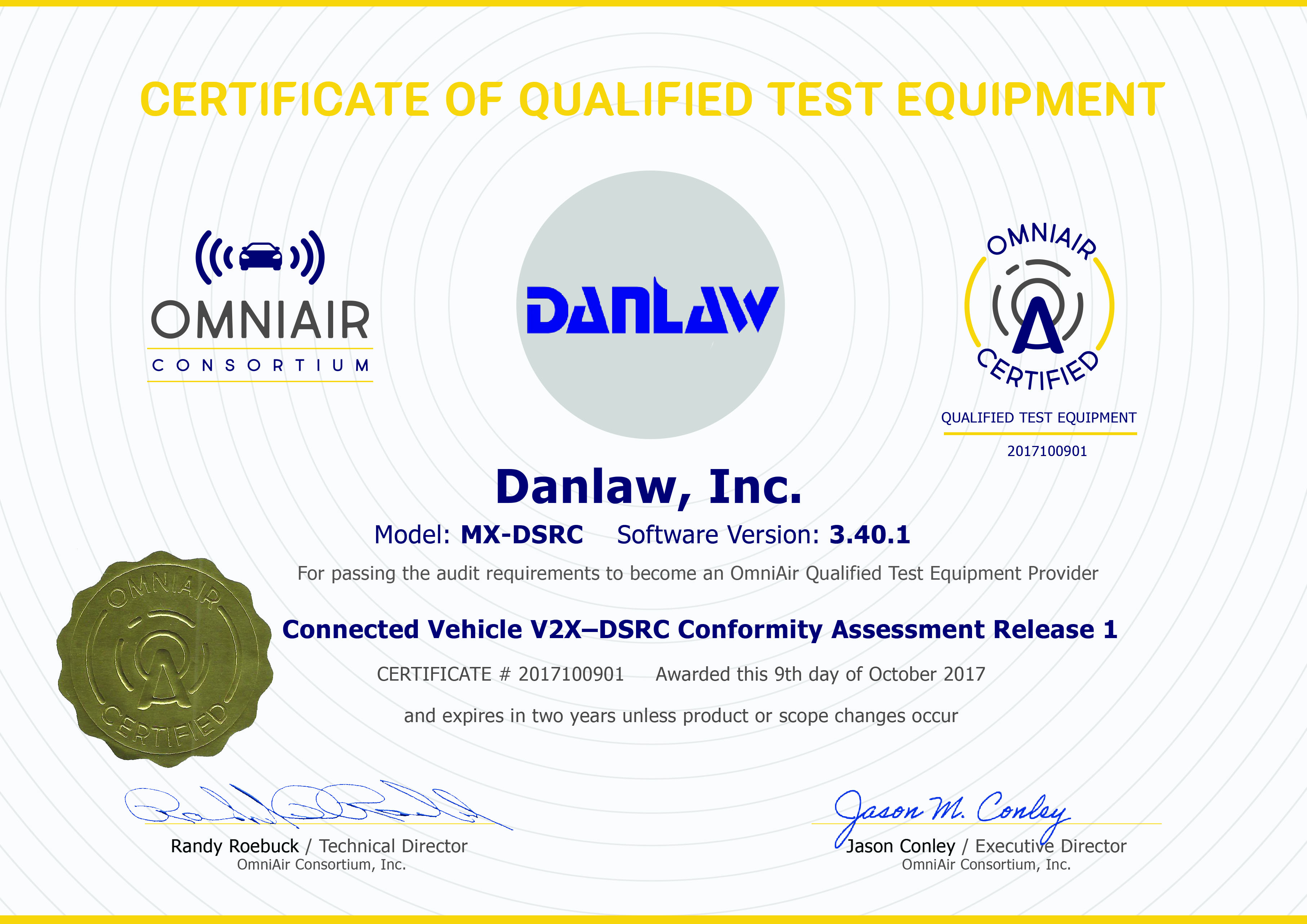 Danlaw dsrc conformance tester earns omniair certification www view the certificate xflitez Choice Image